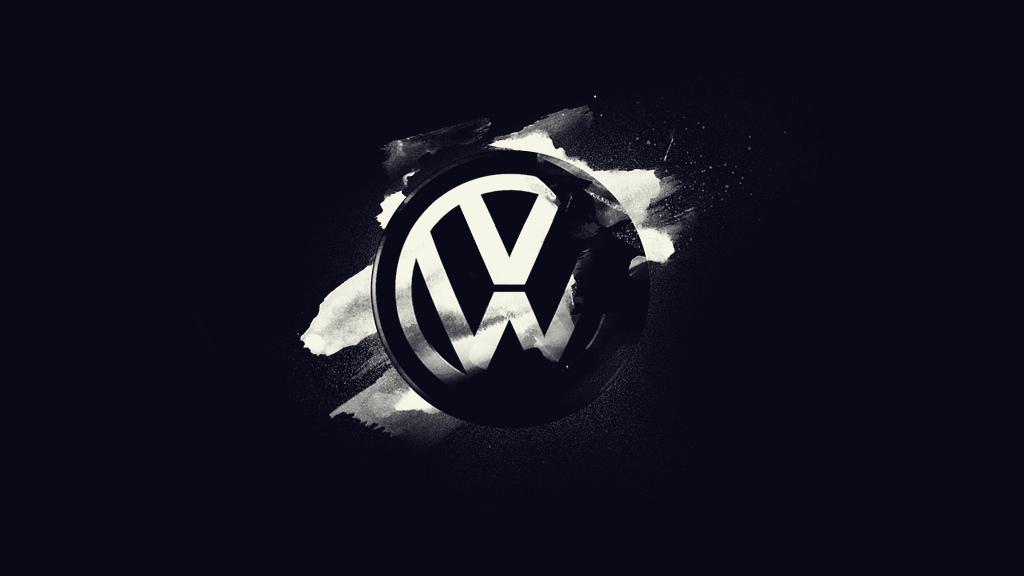 Volkswagen Logo Wallpaper Black 1024x576