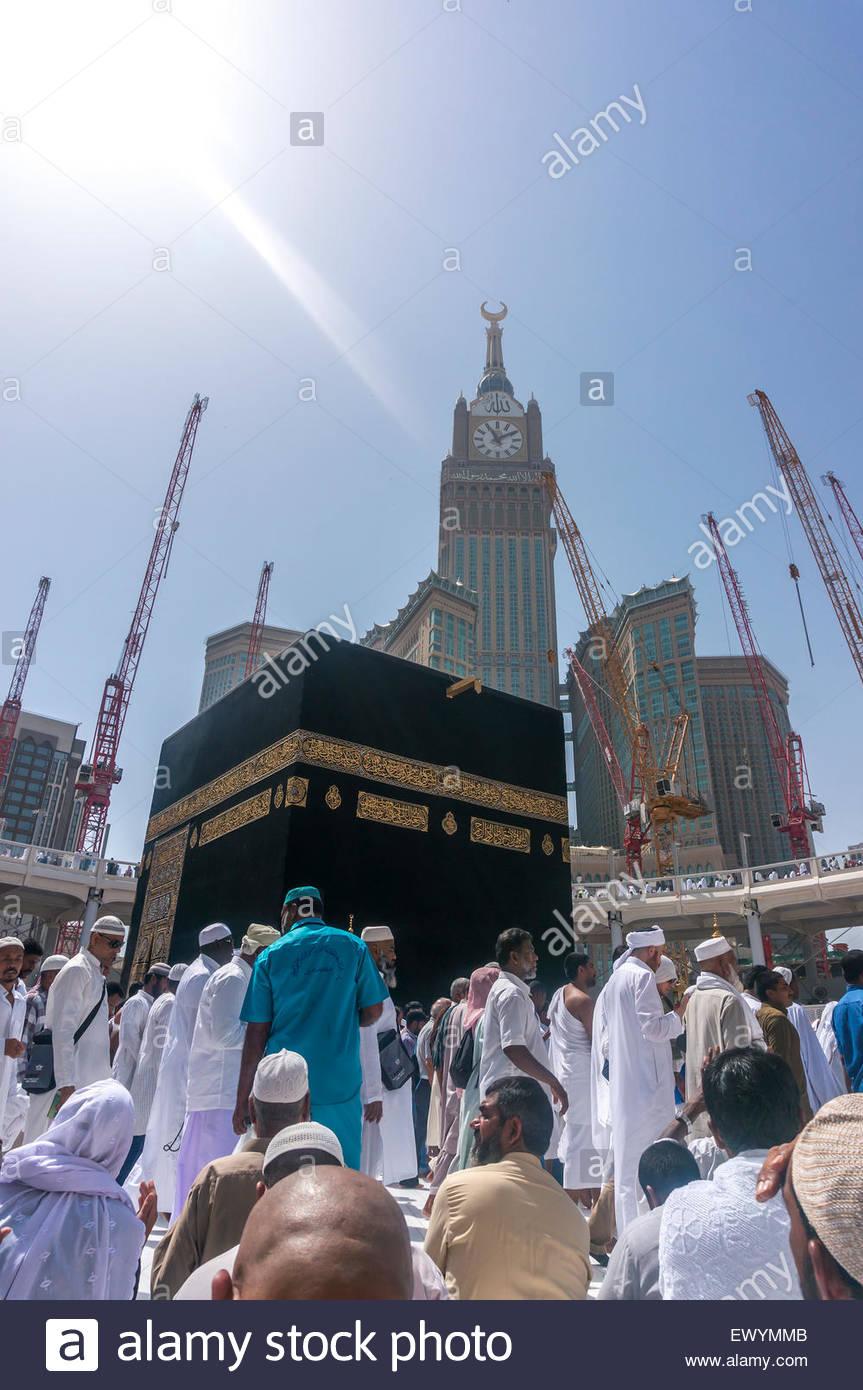 MECCA SAUDI ARABIA   MARCH 13 2015 Kaaba with Abraj Al Bait 863x1390