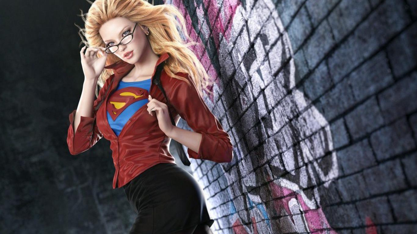 Desktop Wallpaper Fantasy girl superhero 1366x768