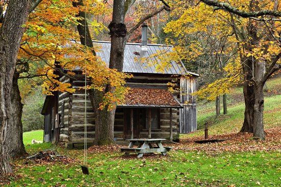 An authentic country cabin in the woods during the fall foliage season 550x367
