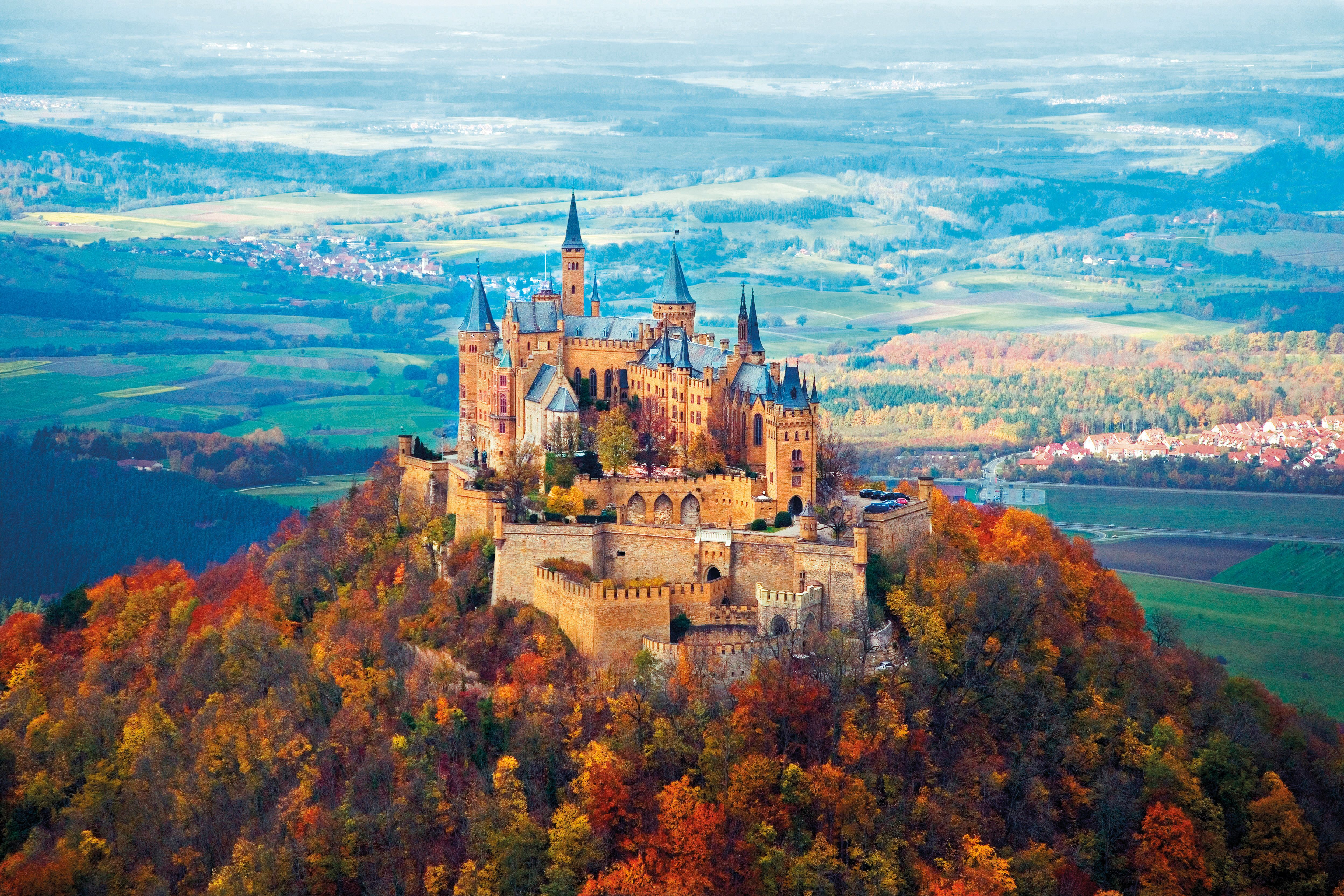 Hohenzollern Castle in the Fall 4k Ultra HD Wallpaper Background 4992x3328