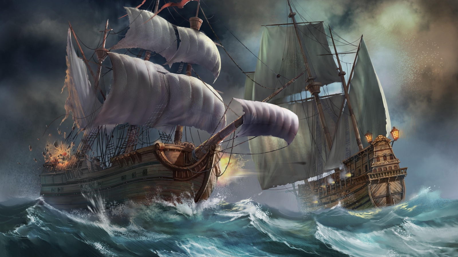 Ships in a Storm   Pirates Wallpaper 39057316 1600x900