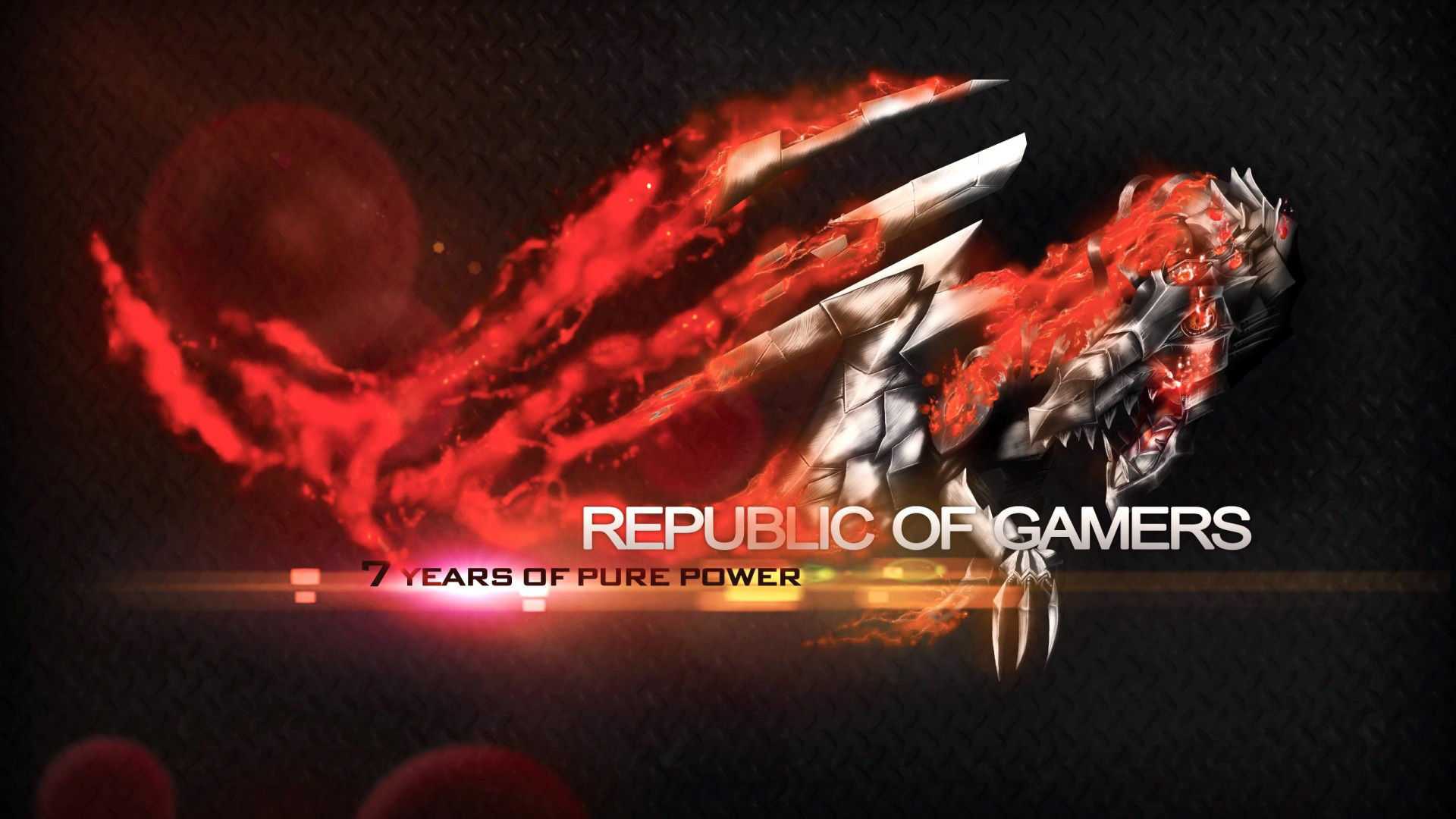 asus rog republic of gamers flaming metal dragon logo hd 1920x1080 1920x1080