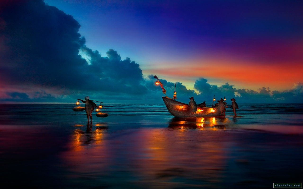 Sailboats Sunset Beach Full HD Wallpapers Magic4Walls 1280x800