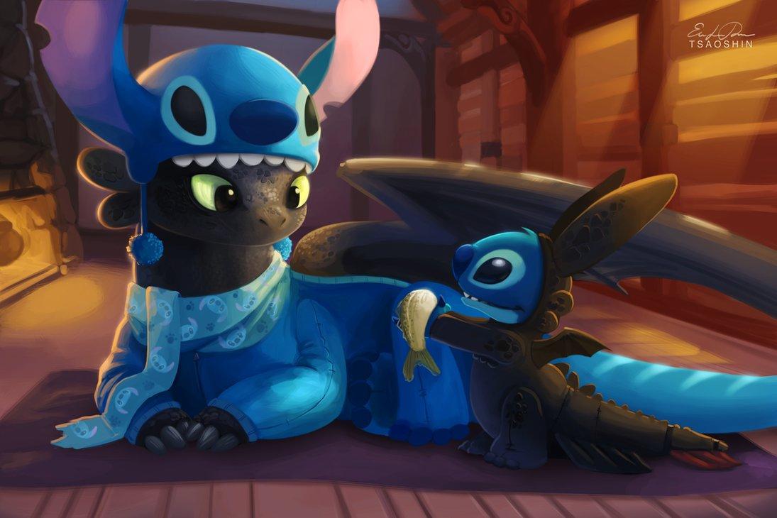 Stitch and Toothless by TsaoShin 1095x730