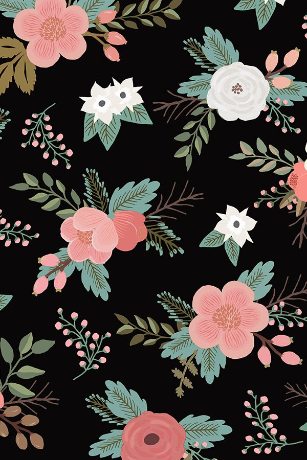 Floral Bouquets in Black by willowlanetextiles   Pink rose and 600x900