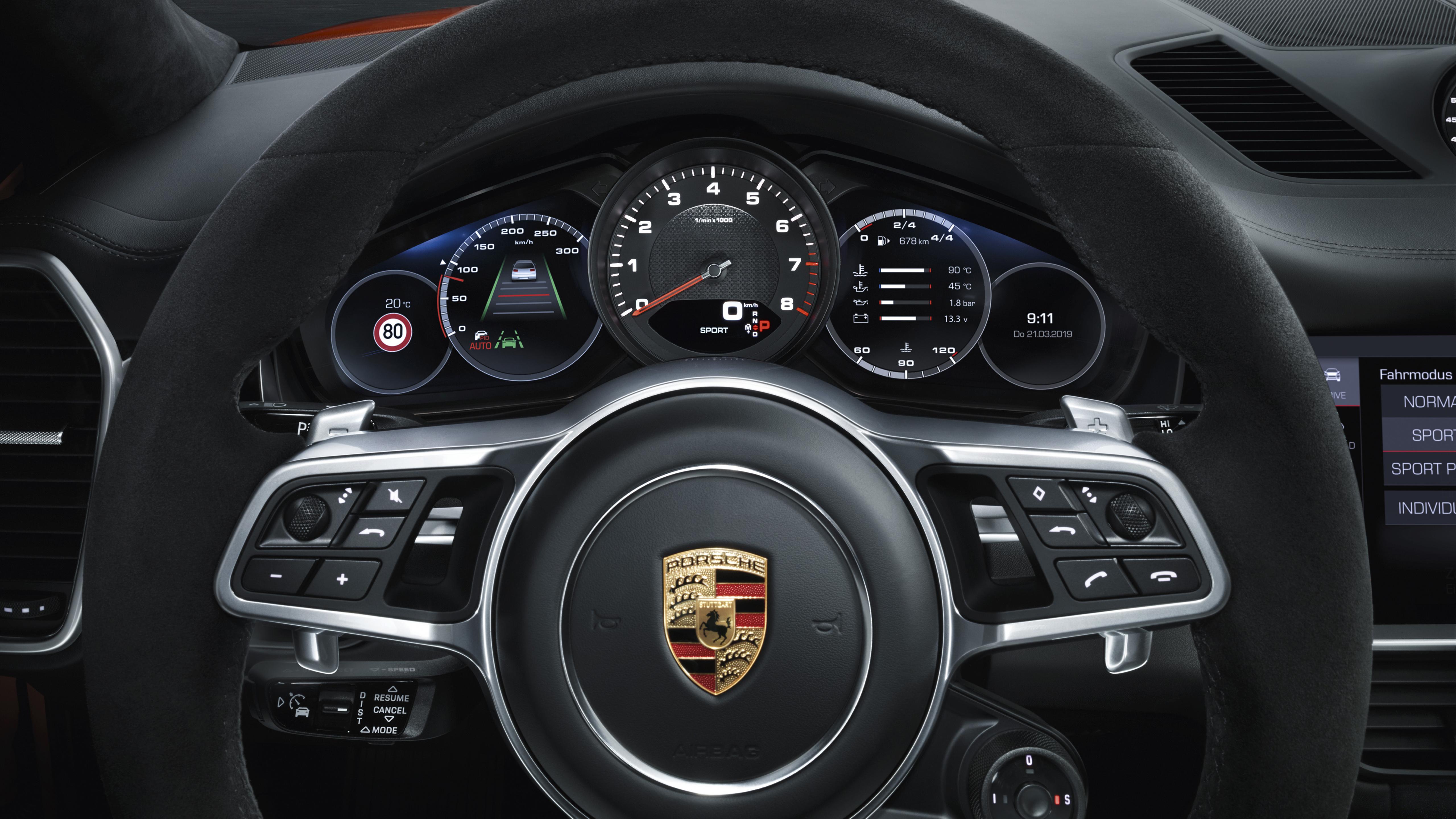 Porsche Cayenne Coupe 2019 Interior 4K Brick wallpaper hd 5120x2880