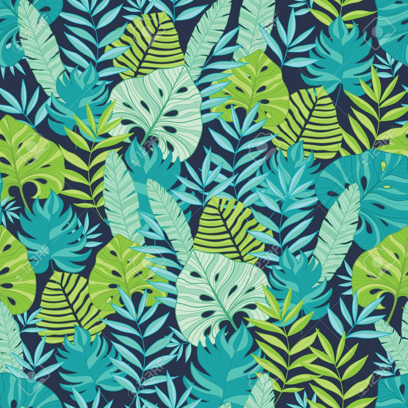 Vector Green And Navy Blue Scattered Tropical Summer Hawaiian 1300x1300