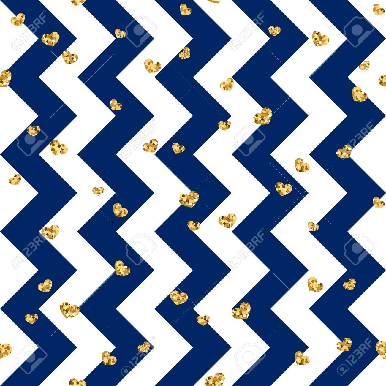 Gold Heart Seamless Pattern Blue white Geometric Zig Zag Golden 1300x1300