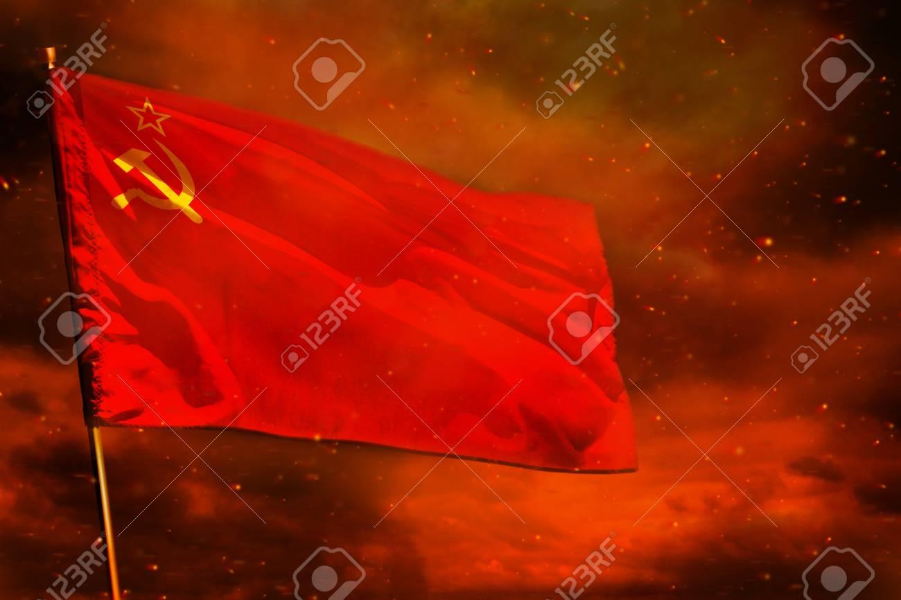 Fluttering Soviet Union SSSR USSR Flag On Crimson Red Sky 1300x866
