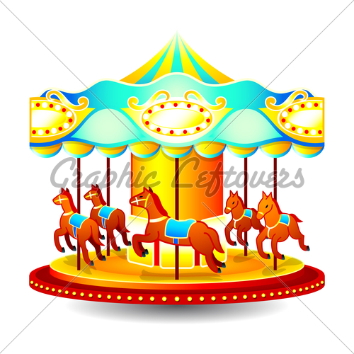 Small Classic Children Merry Go Round With Horses 500x500