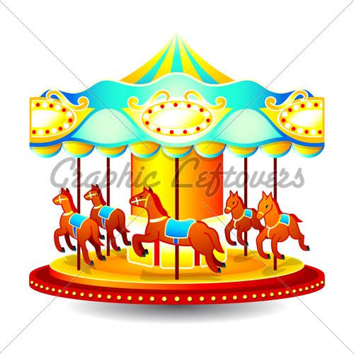 Small Classic Children Merry Go Round With Horses