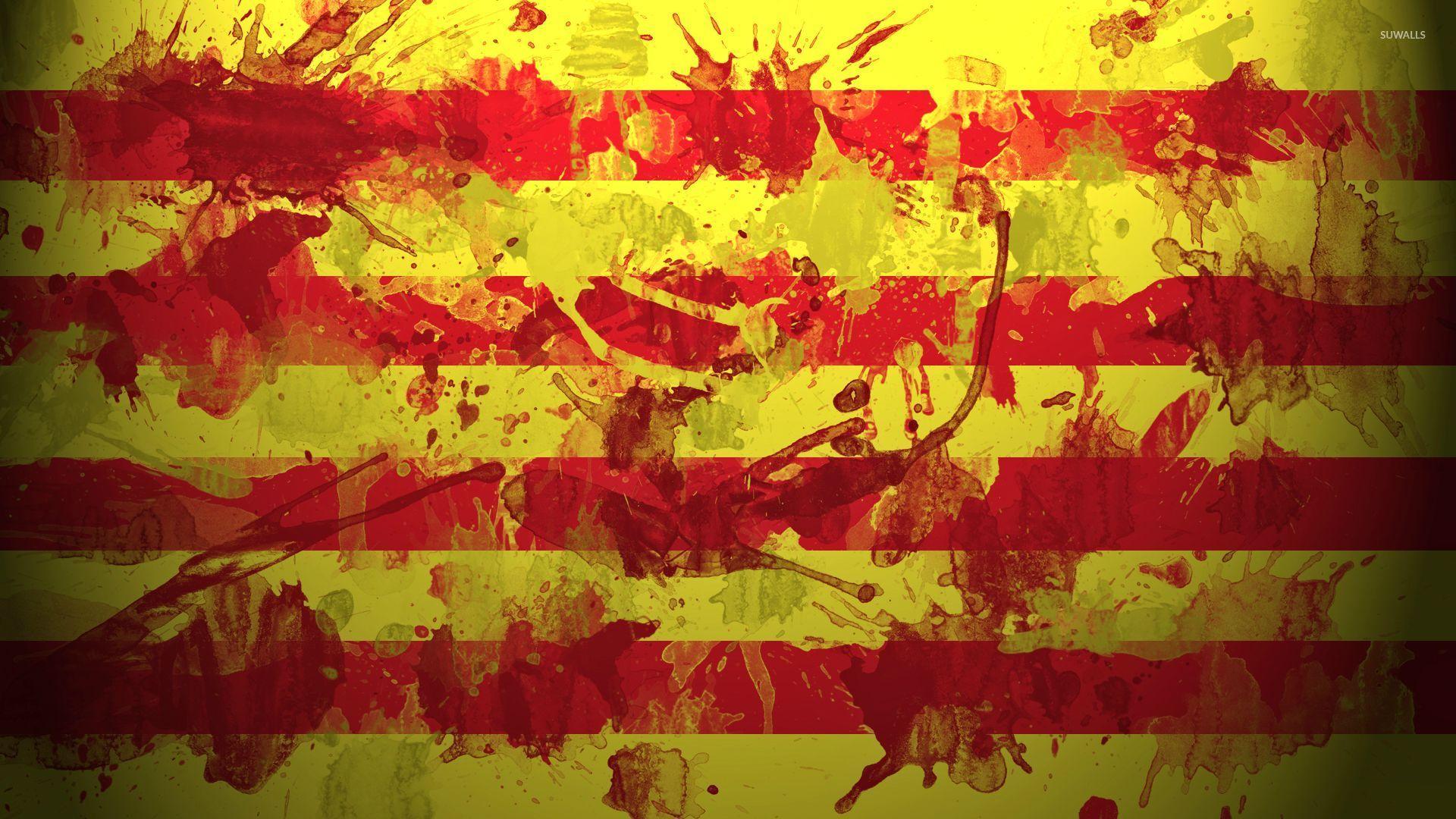 Catalonia flag with paint splash wallpaper   Digital Art 1920x1080