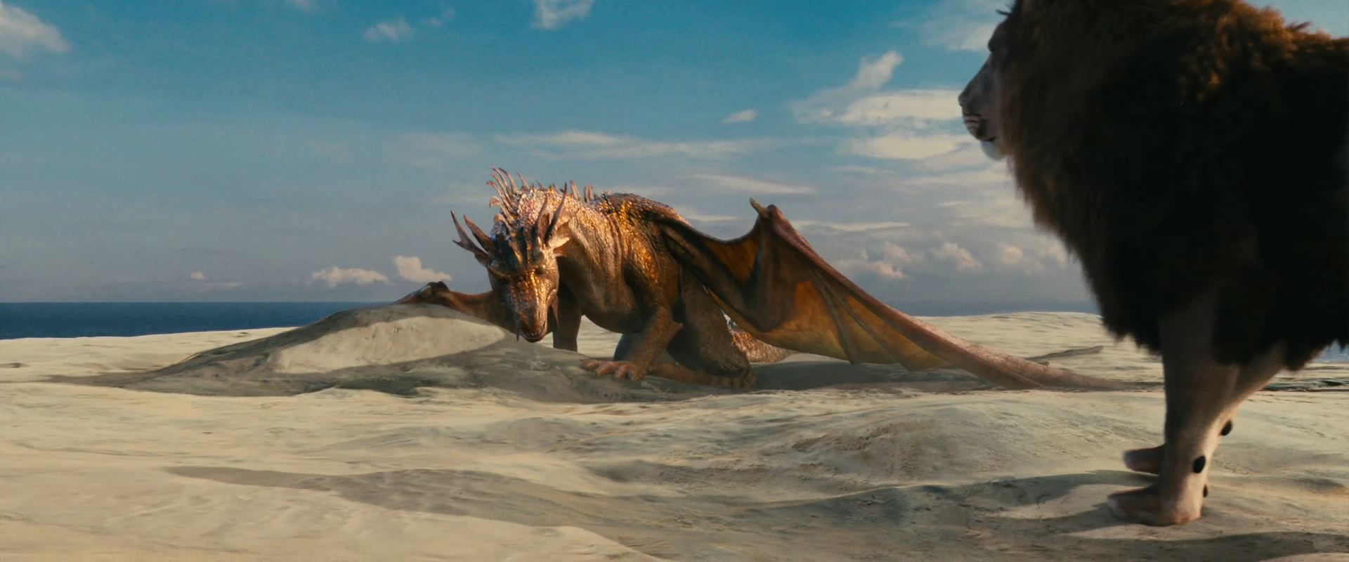 Aslan and the Dragon from Chronicles of Narnia Voyage of the Dawn 1920x800