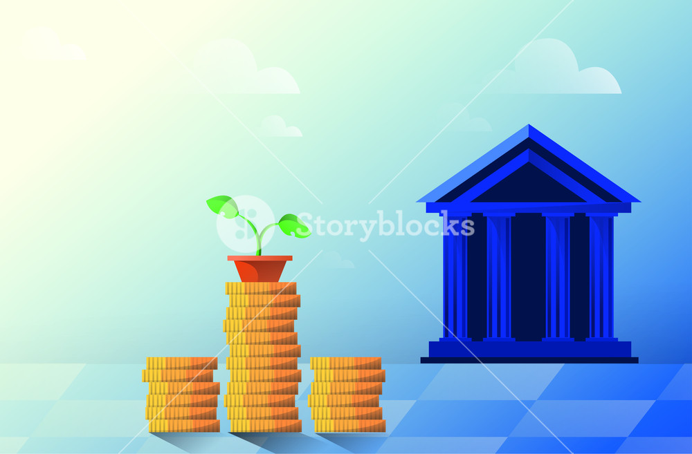 Vector flat illustration bank building on a white background 1000x657