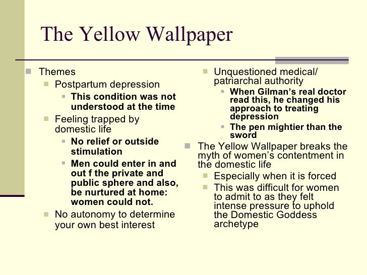 the theme of insanity in the yellow wallpaper by charlotte perkins gilman The yellow wall paper by charlotte perkins gilman written in 1892 is considered a story that is a leading feminist view about a woman's place in a traditional marriage during that time period gilman herself was an intellectual voice and staunch supporter of women's rights in marriage.