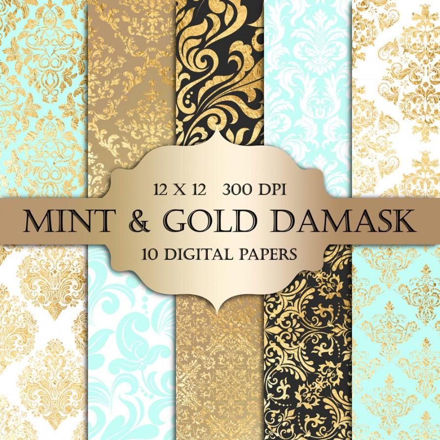 Mint Gold Foil Damask Digital Paper   Mint Gold Damask Metallic 900x900