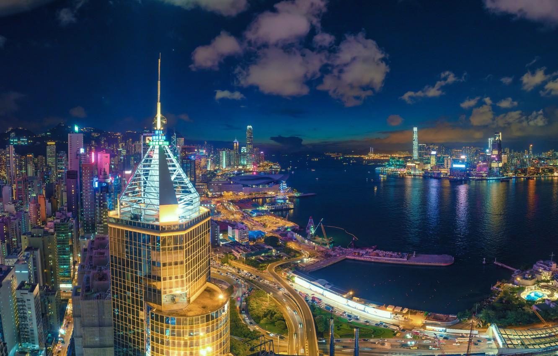 Wallpaper Hong Kong panorama Bay night city skyscrapers Hong 1332x850