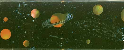 Outer Space Planets on Black Wallpaper Border GU79212N