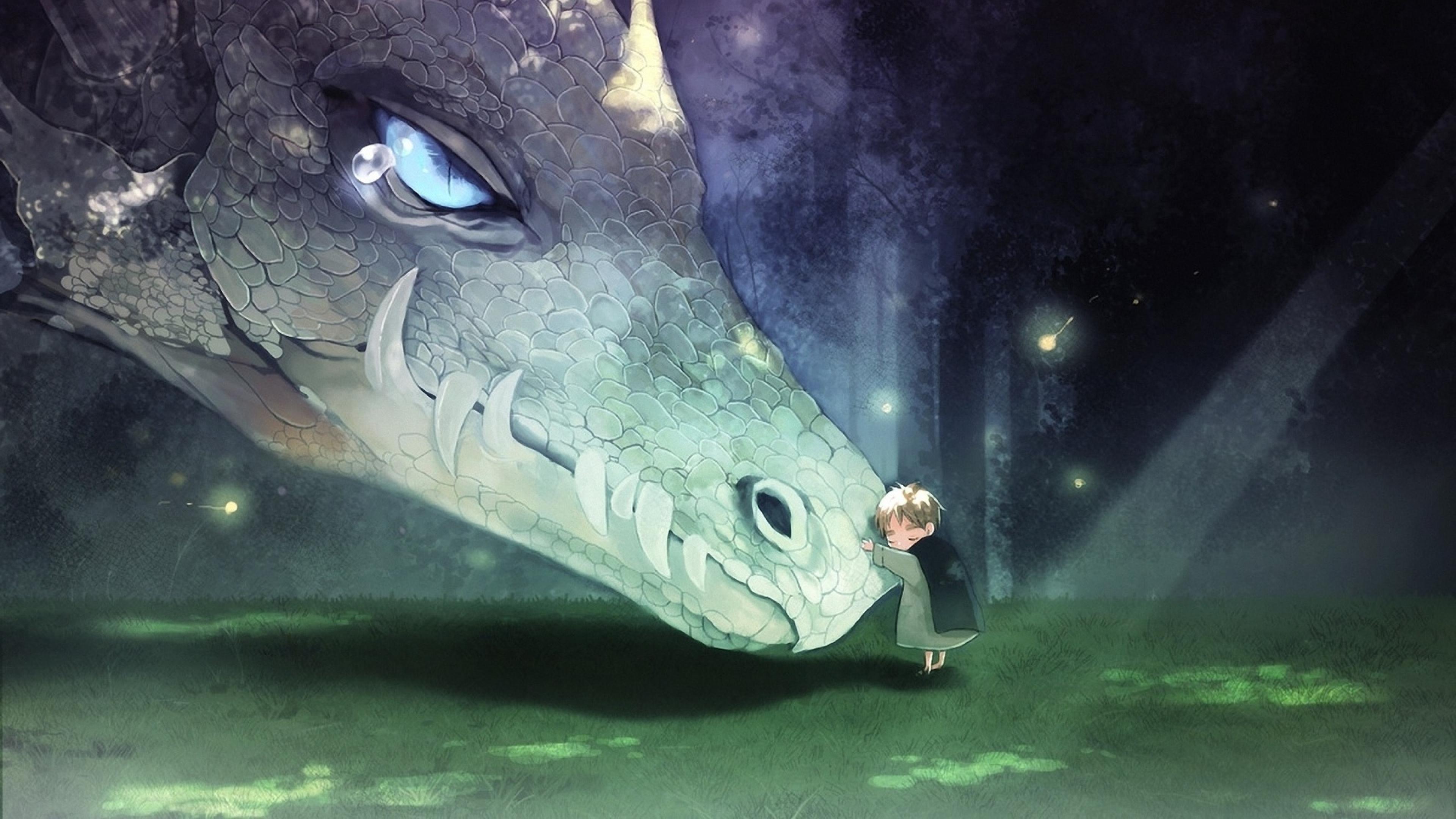Anime Fantasy Dragon Baby Friends Wallpaper Background 4K Ultra 3840x2160