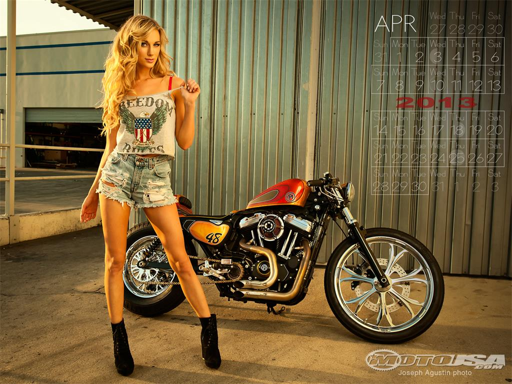Wallpaper and Calendar Gallery April 2013 Motorcycle Pin Up Girl 1024x768