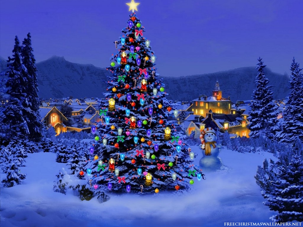 Merry Christmas tree with snow wallpaper for desktop 1024x768