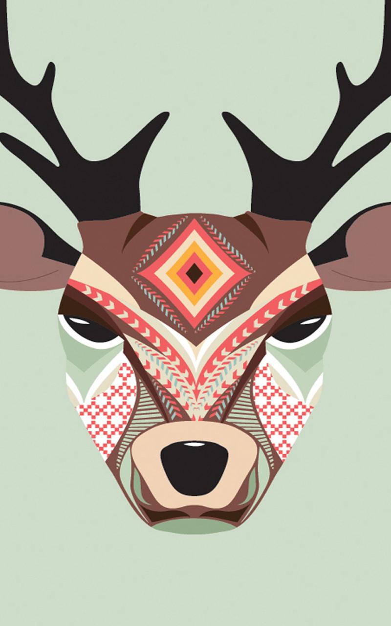 Aztec Deer Amazon Kindle Fire HD 7 2nd Gen 2014 800x1280