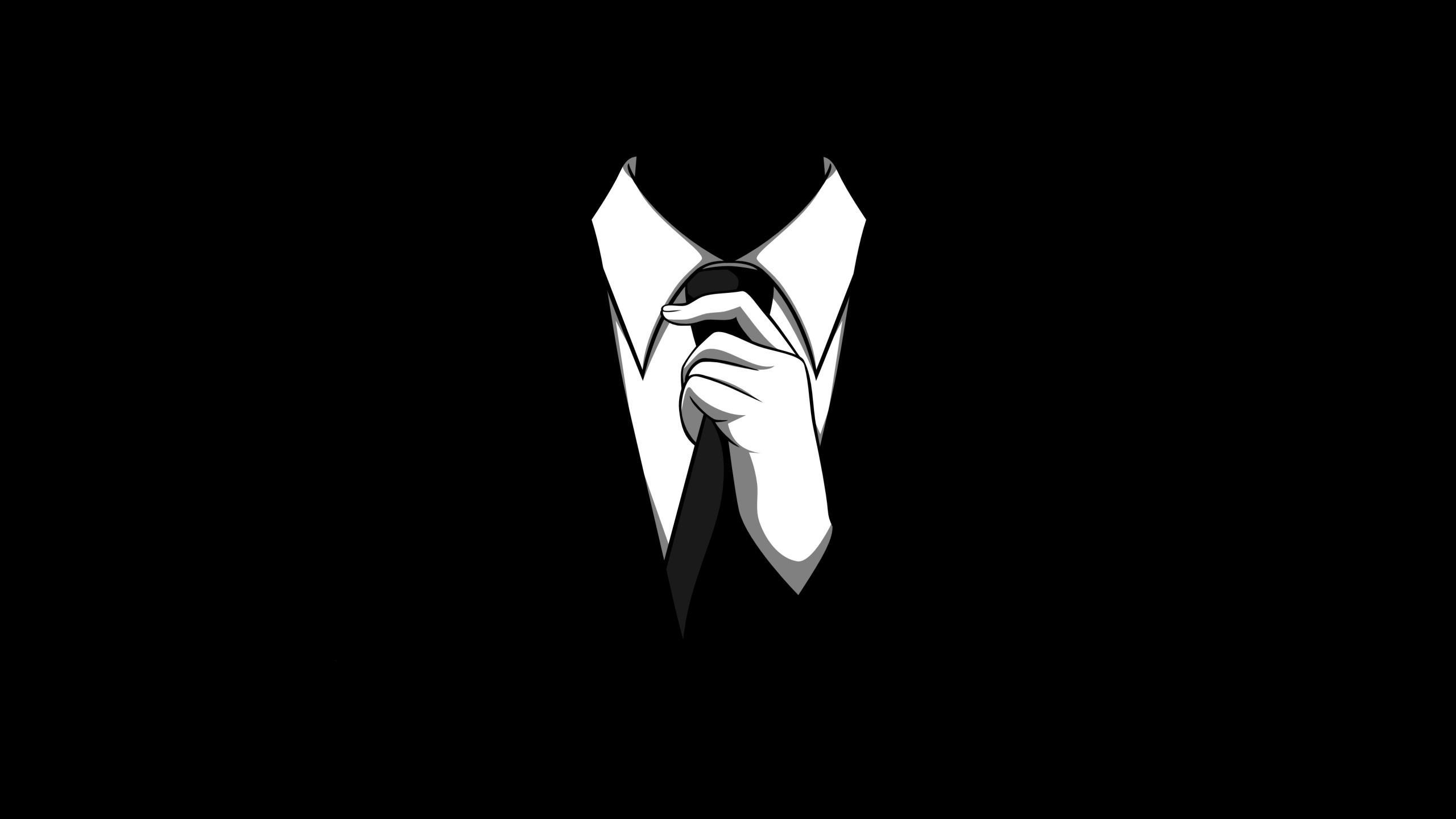 Anonymous black tie monochrome black background wallpaper background 2560x1440