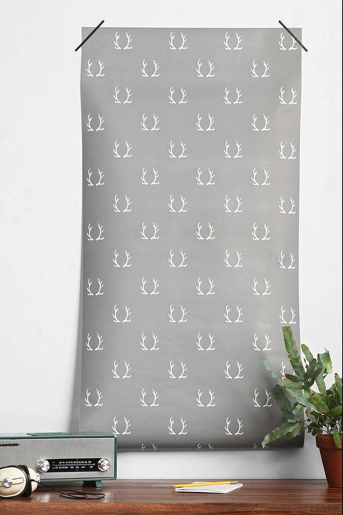 Chasing Paper Antlers Removable Wallpaper I Urban Outfitters 493x740