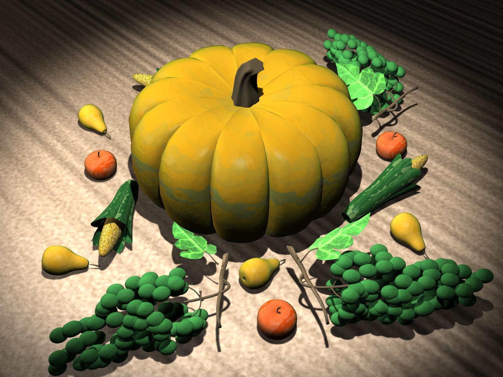Download 3D Thanksgiving wallpaper 3D Pumpkin 1600x1200