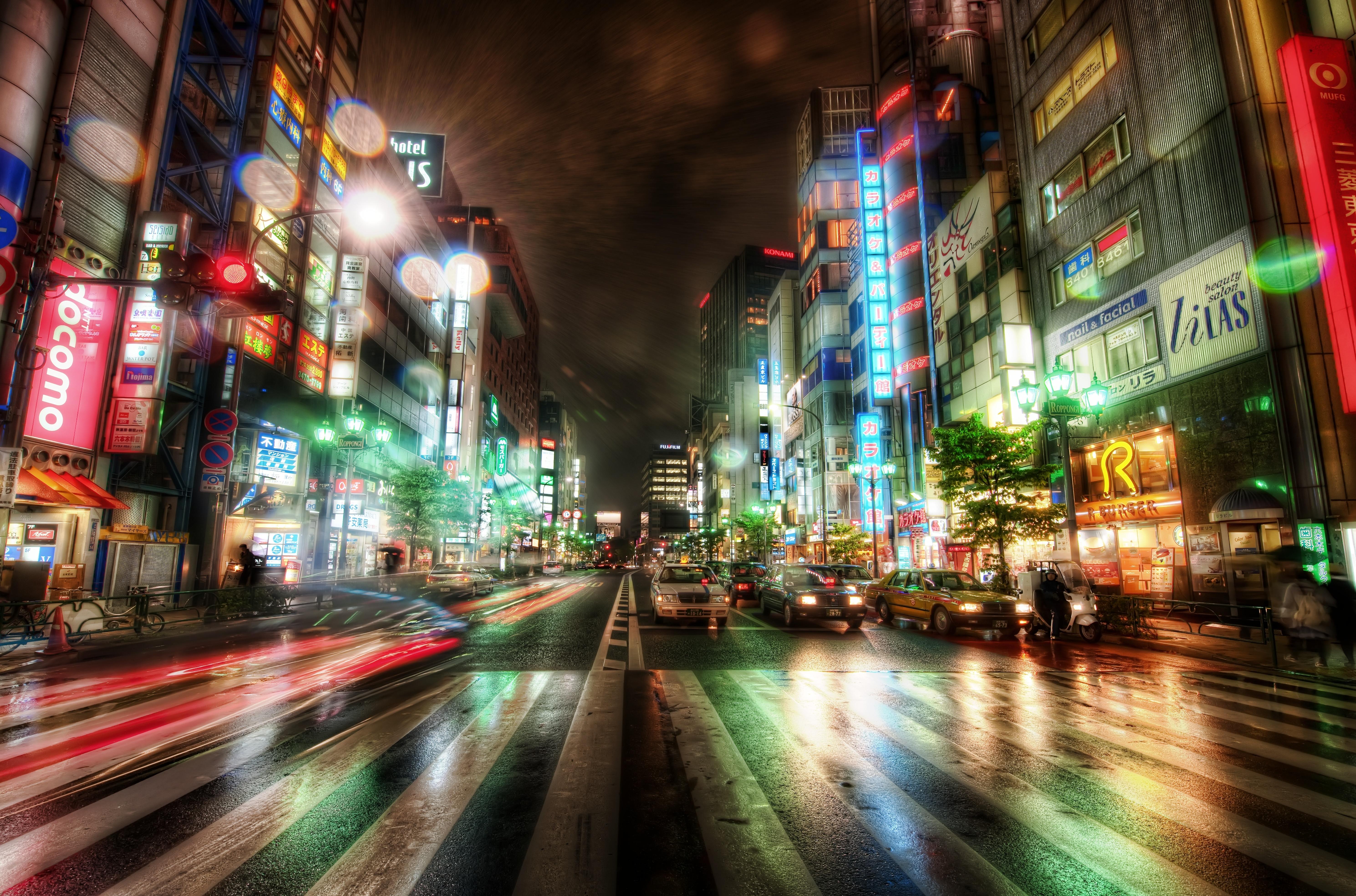 4K wallpaper   City   Japan night road Tokyo buildings machinery 5957x3937