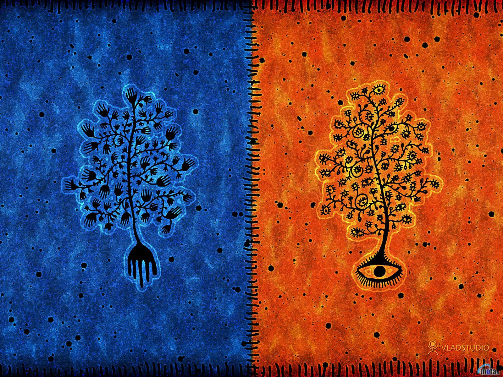 Wallpaper tree blue orange Blue and orange tree 1600x1200