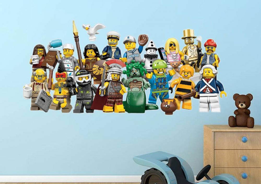 LEGO MOVIE 2014 MINIFIGURES WALL STICKER DECAL GRAPHIC BOYS BEDROOM 1000x707