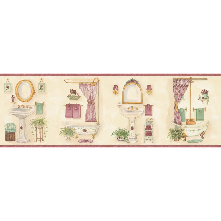 Pastel Vintage Bathroom Prepasted Wallpaper Border at Lowescom 900x900