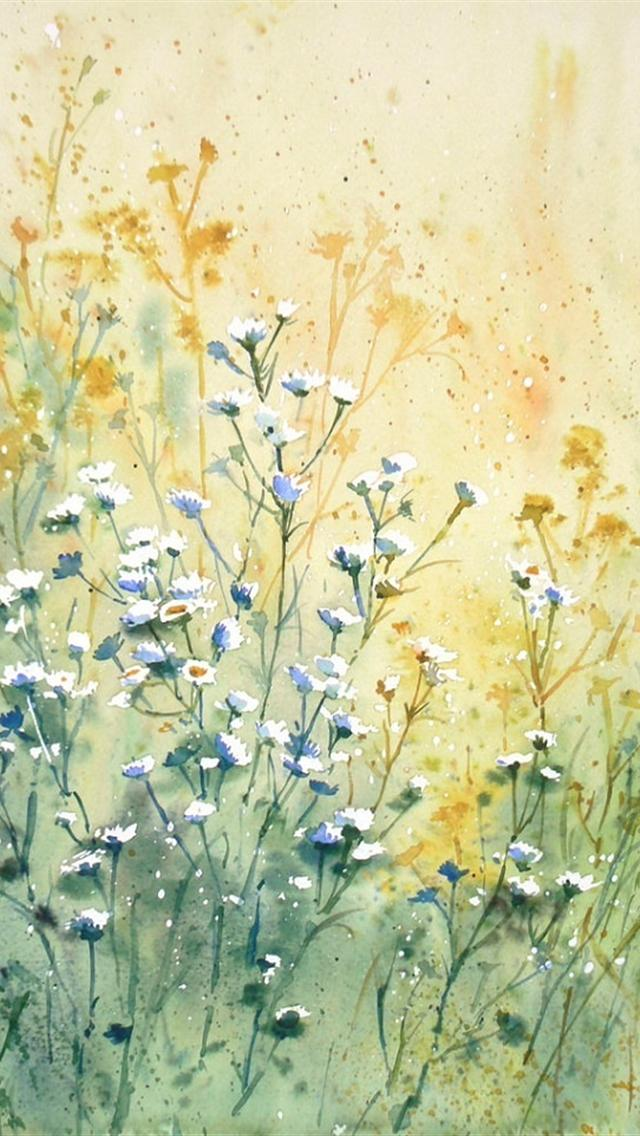 flowers painting iphone 5 wallpapers downloads 640x1136