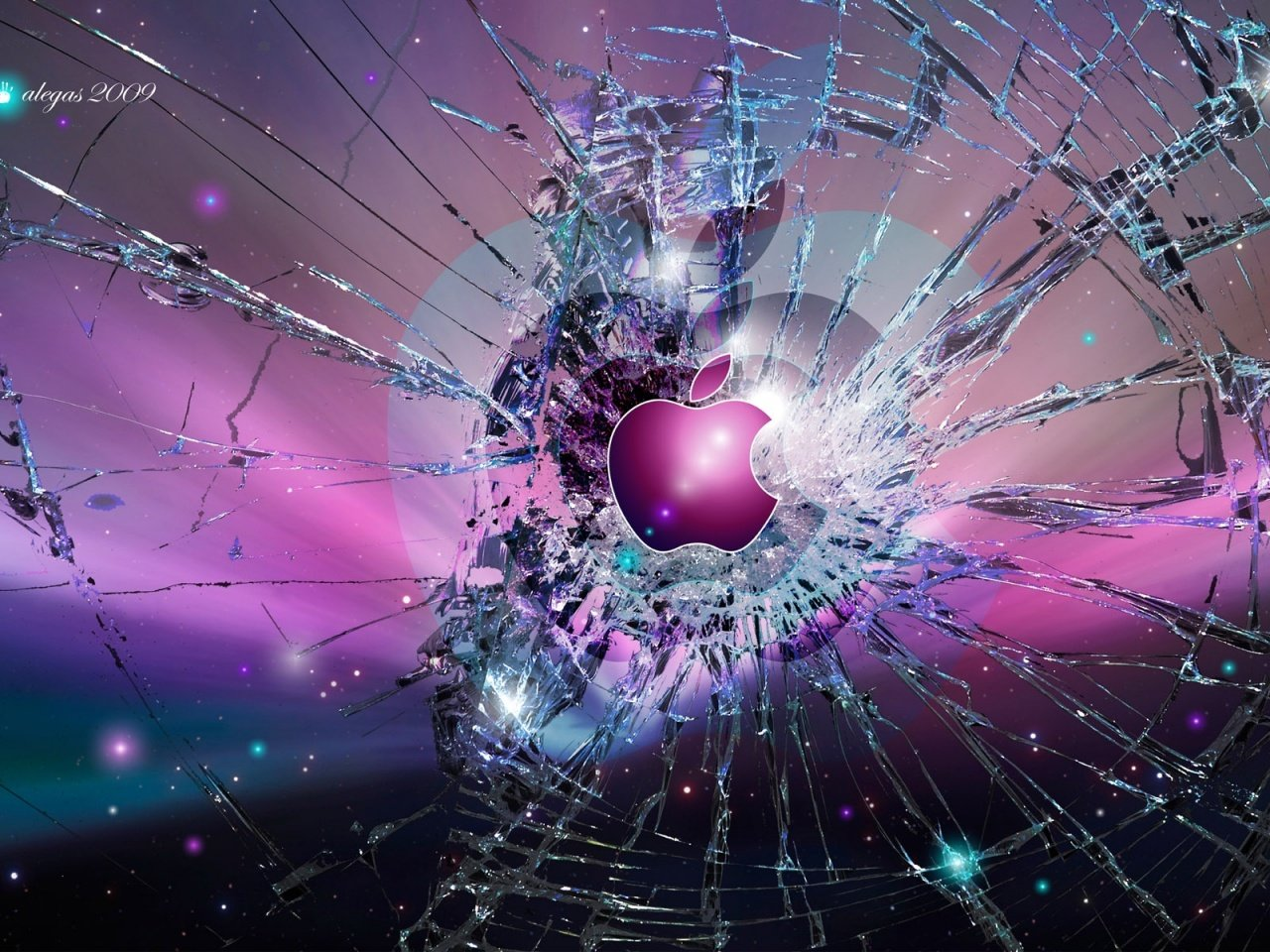 Apple Broken Screen Background Wallpaper Picture 1280x960