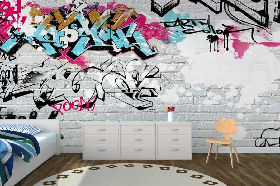 White Wall Graffiti Wallpaper Wall Mural Muralswallpaper 6088 Art 899x599