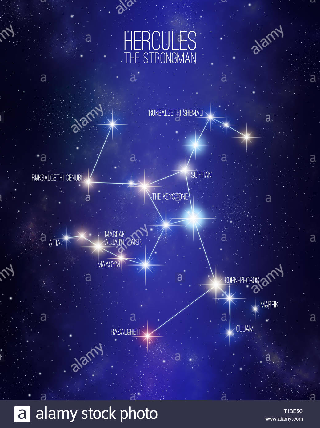 Hercules the strongman constellation on a starry space background 1040x1390