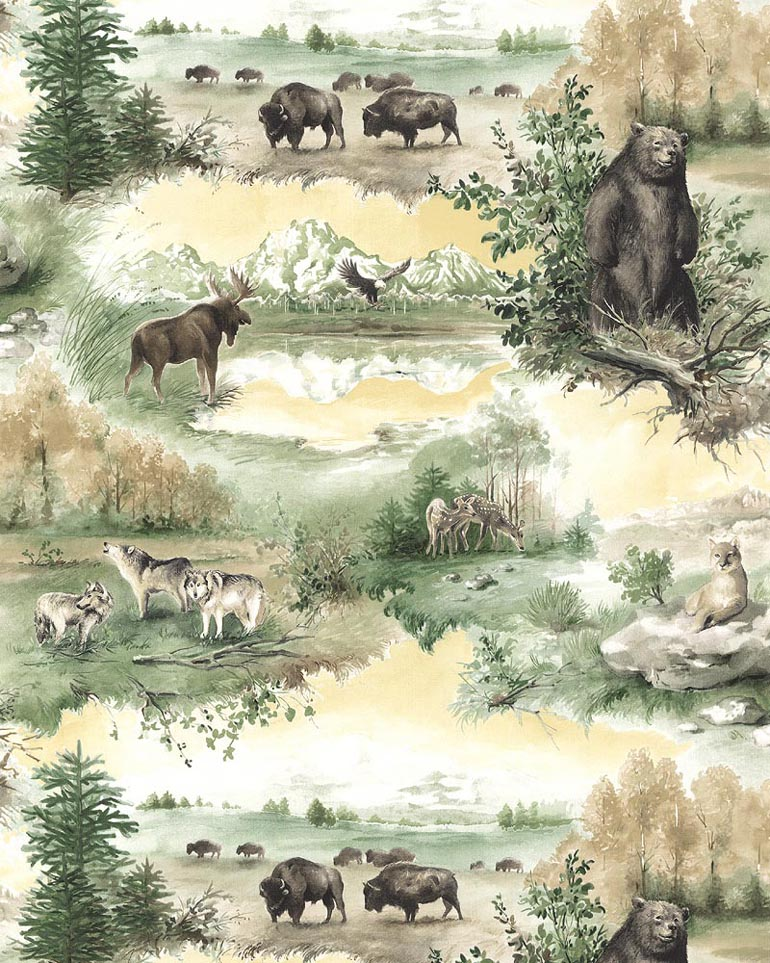 Details about WILD LIFE WOLVESMOOSEB EARBUFFALO Wallpaper TM19733 770x963