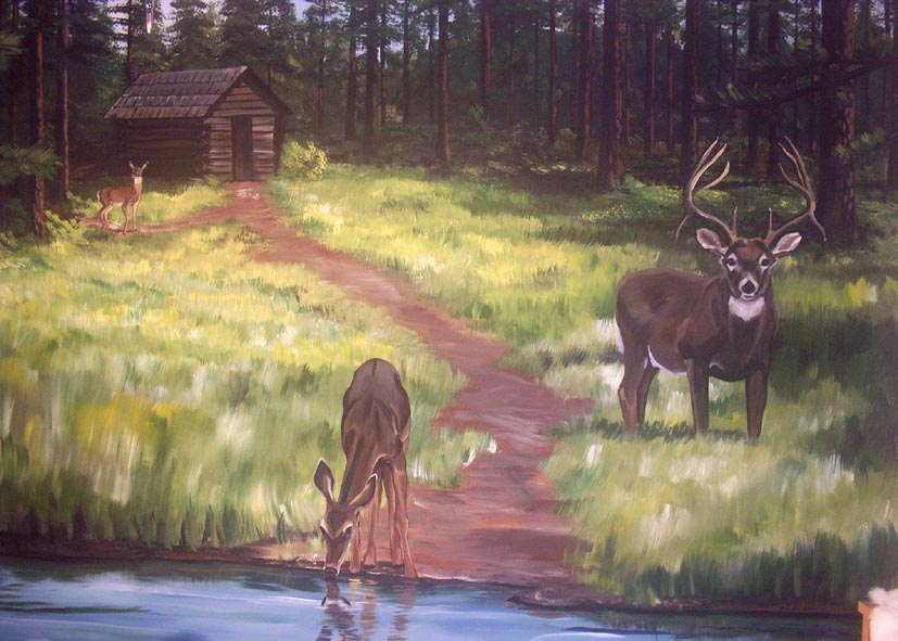 Wallpaper deer and cabin wallpapersafari for Deer landscape wall mural