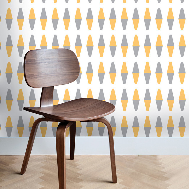 Loft Gray Yellow Removable Wallpaper Wallpaper by Kathy Kuo Home 640x640