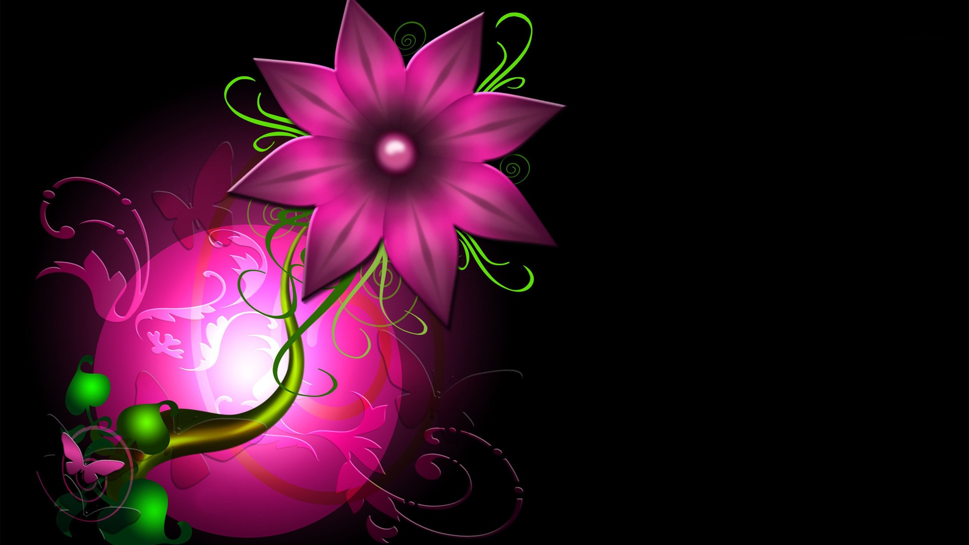 Beautiful Abstract Pink Flower Wallpaper 1920x1080