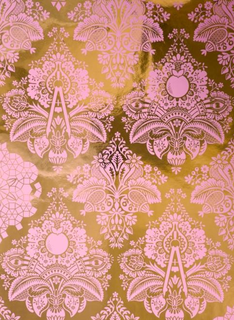 Fruits of Design Bubblegum Damask Wallpaper Little Crown Interiors 483x659