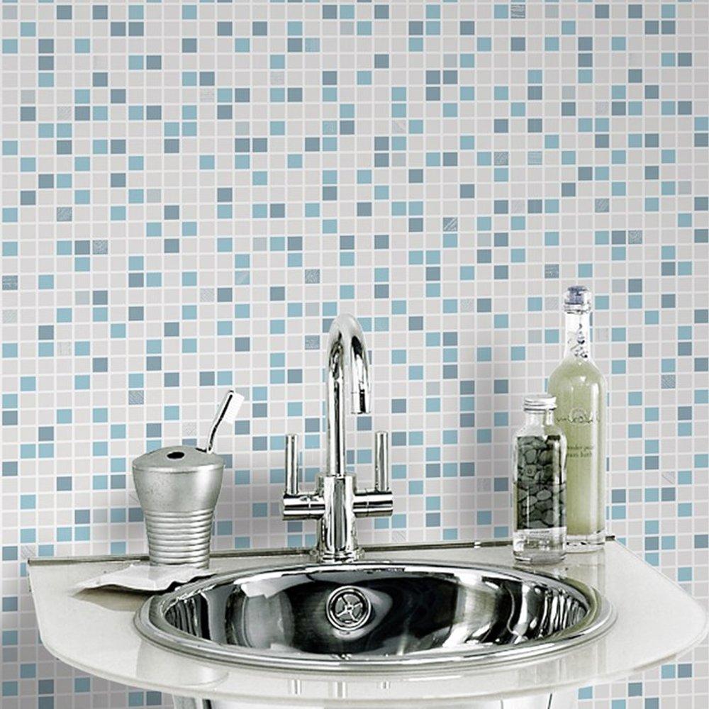 Brown Checker Pattern Tile Embossed Vinyl Bathroom Wallpaper 20 506 1000x1000
