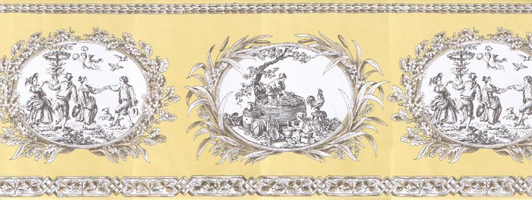 FRENCH COUNTRY LIFE TOILE Wallpaper Border CH77650 770x290