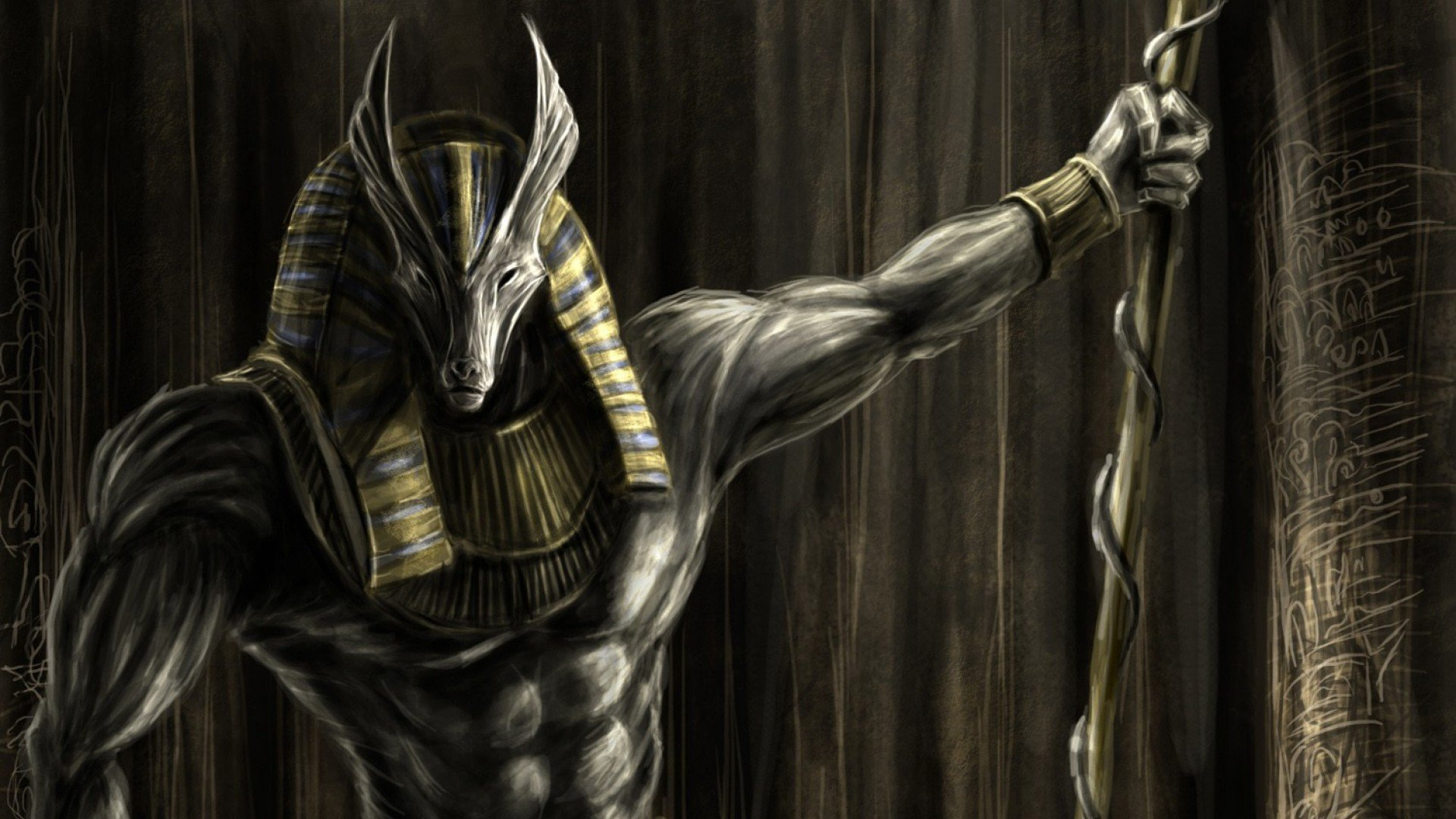 Anubys Egyptian God of the Dead wallpaper background 1920x1080