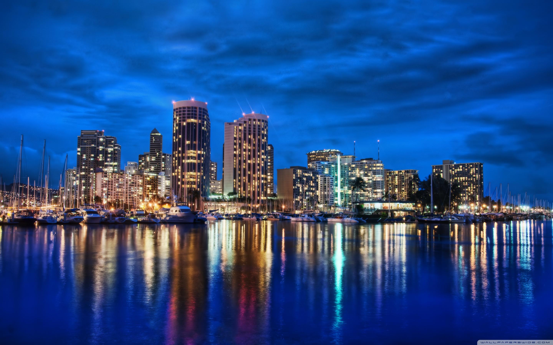 Waikiki Skyline At Night 4K HD Desktop Wallpaper for 4K Ultra 2880x1800