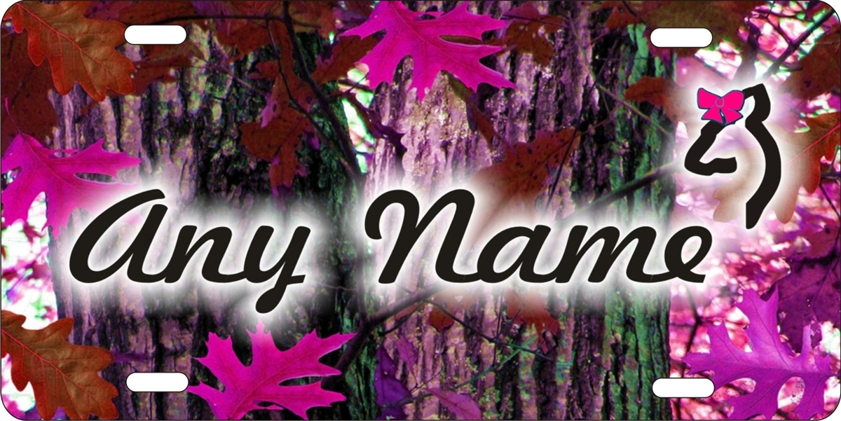 oak camo background custom car tag Custom License Plates Personalized 1200x601