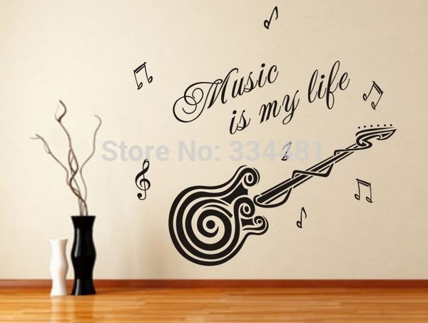 Aliexpresscom Buy Wall quotes Removable Wallpaper Stickers Guitar 600x453