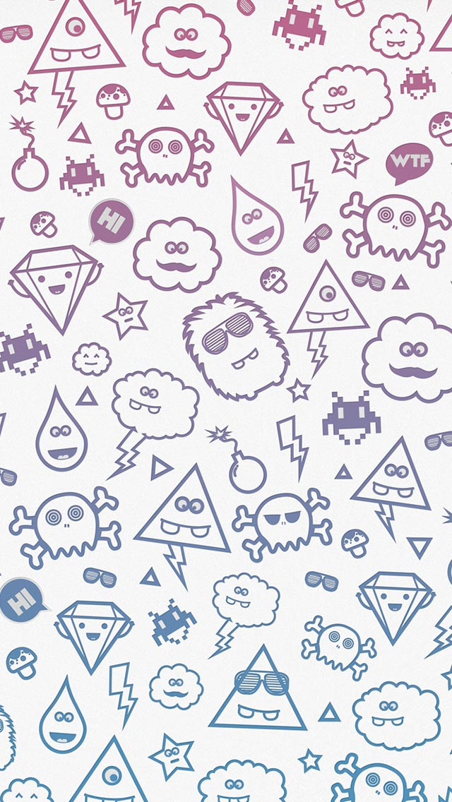 Cute monsters iphone5 wallpaper 640x1136